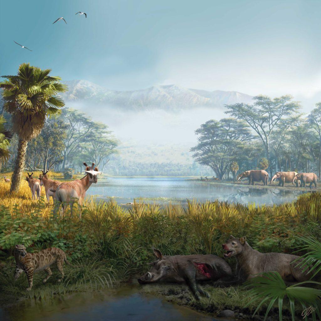 Fa 16 milions d'anys aquest era l'aspecte que tenia el jaciment actual: una zona de llacs poc profunds amb grans mamífers